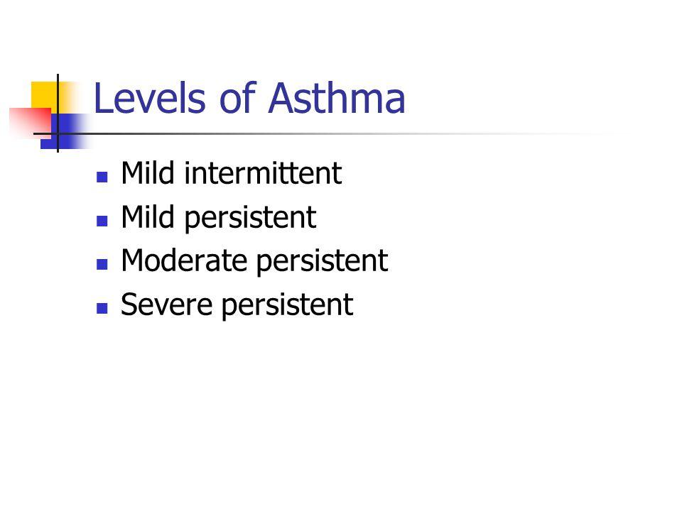 Levels of Asthma Mild intermittent Mild persistent Moderate persistent Severe persistent
