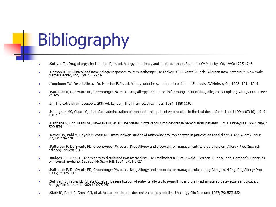 Bibliography.Sullivan TJ.Drug Allergy. In: Midleton E, Jr.