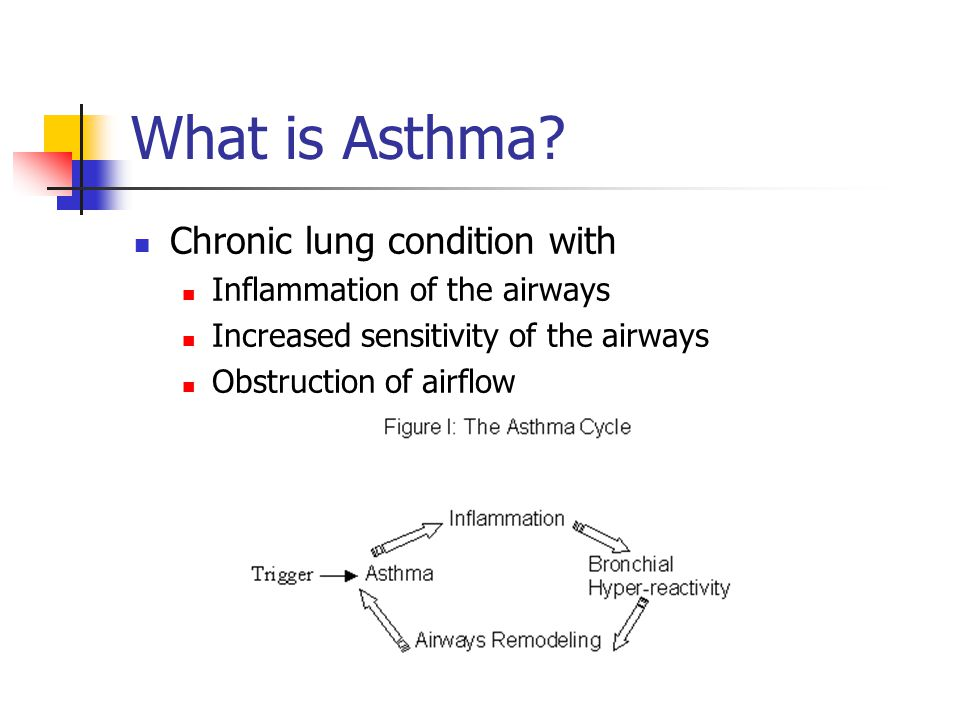 What is Asthma? Chronic lung condition with Inflammation of the airways Increased sensitivity of the airways Obstruction of airflow