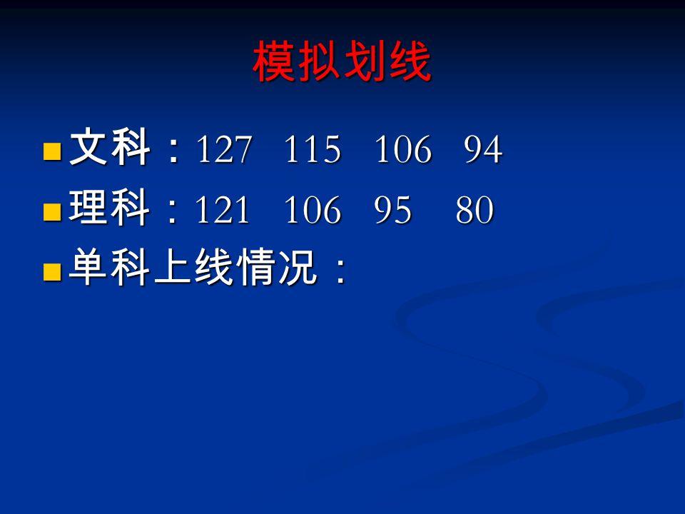 模拟划线 文科: 127 115 106 94 文科: 127 115 106 94 理科: 121 106 95 80 理科: 121 106 95 80 单科上线情况: 单科上线情况: