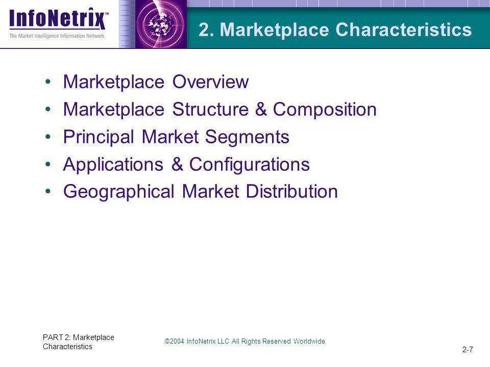©2004 InfoNetrix LLC All Rights Reserved Worldwide PART 2: Marketplace Characteristics 2-7 2.