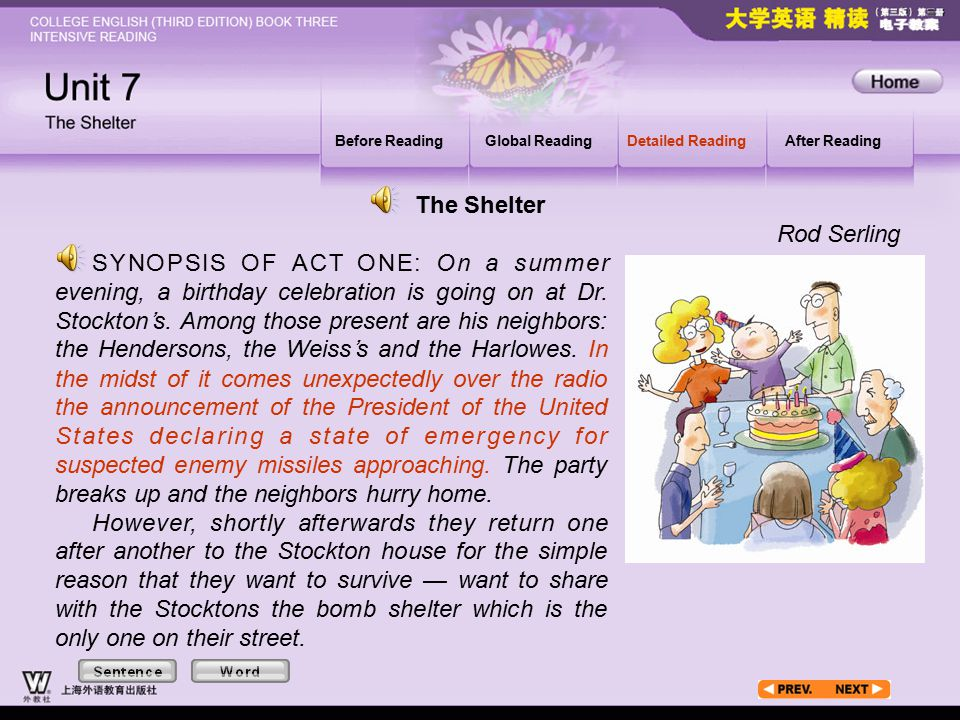 Article1_S Before ReadingGlobal ReadingDetailed ReadingAfter Reading SYNOPSIS OF ACT ONE: On a summer evening, a birthday celebration is going on at Dr.