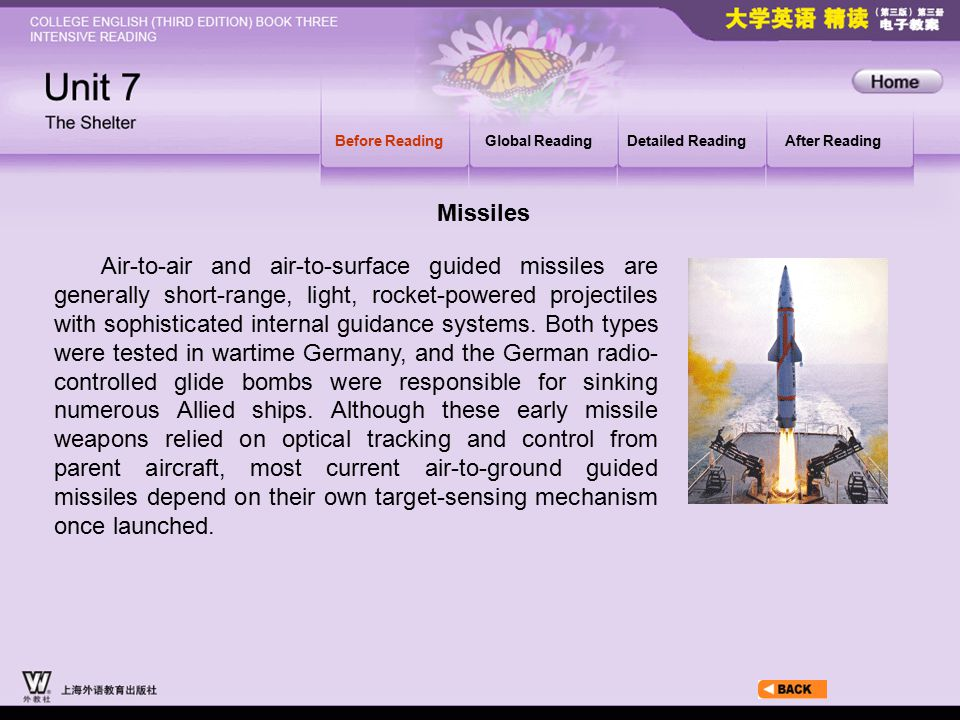 Before Reading_2_2_3 Before ReadingGlobal ReadingDetailed ReadingAfter Reading Air-to-air and air-to-surface guided missiles are generally short-range, light, rocket-powered projectiles with sophisticated internal guidance systems.