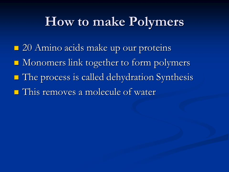 How to break down polymers By adding water, it will break (lyse) the bond between the monomer.
