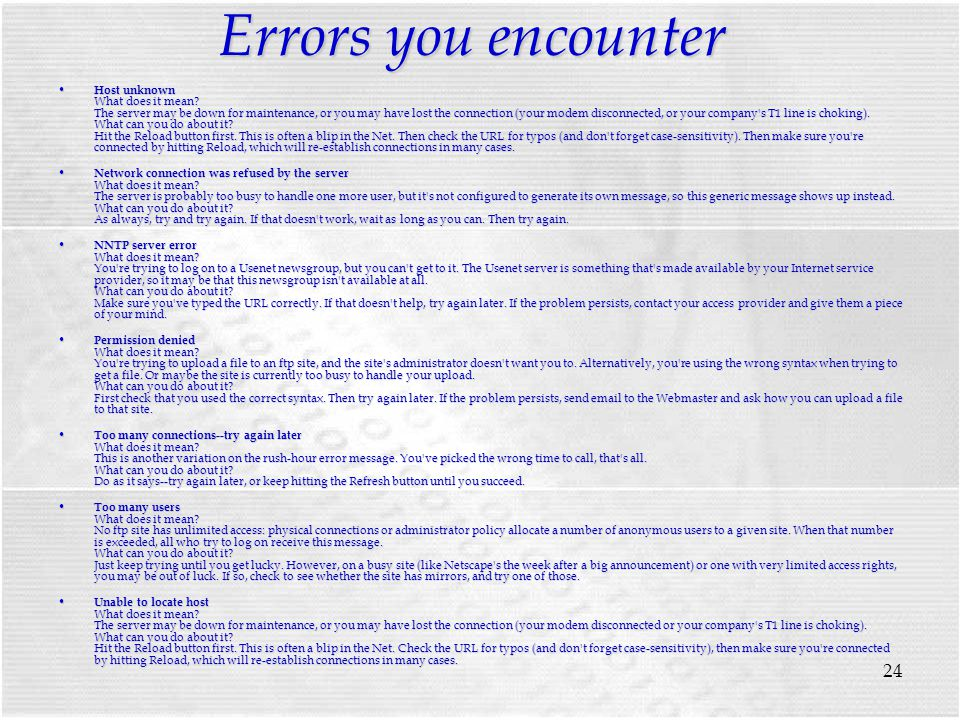 24 Errors you encounter Host unknown What does it mean.