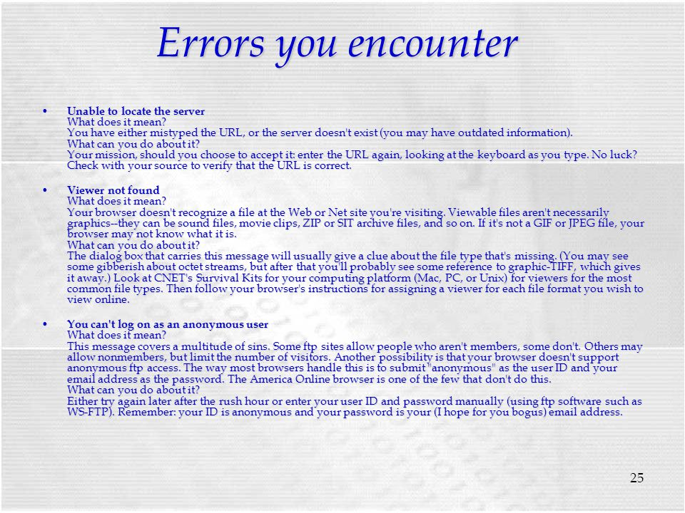 25 Errors you encounter Unable to locate the server What does it mean.