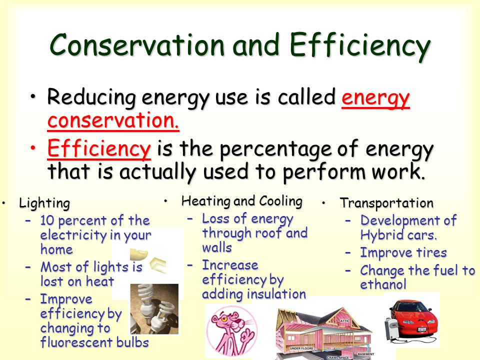 Conservation and Efficiency Reducing energy use is called energy conservation.Reducing energy use is called energy conservation. Efficiency is the per