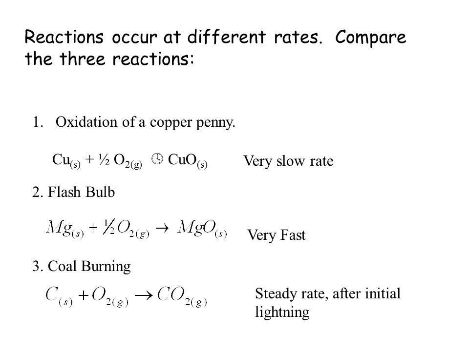 Reactions occur at different rates.Compare the three reactions: 1.Oxidation of a copper penny.