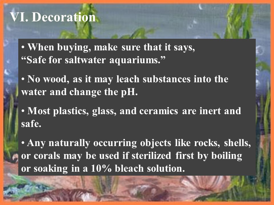 """VI. Decoration When buying, make sure that it says, """"Safe for saltwater aquariums."""" No wood, as it may leach substances into the water and change the"""