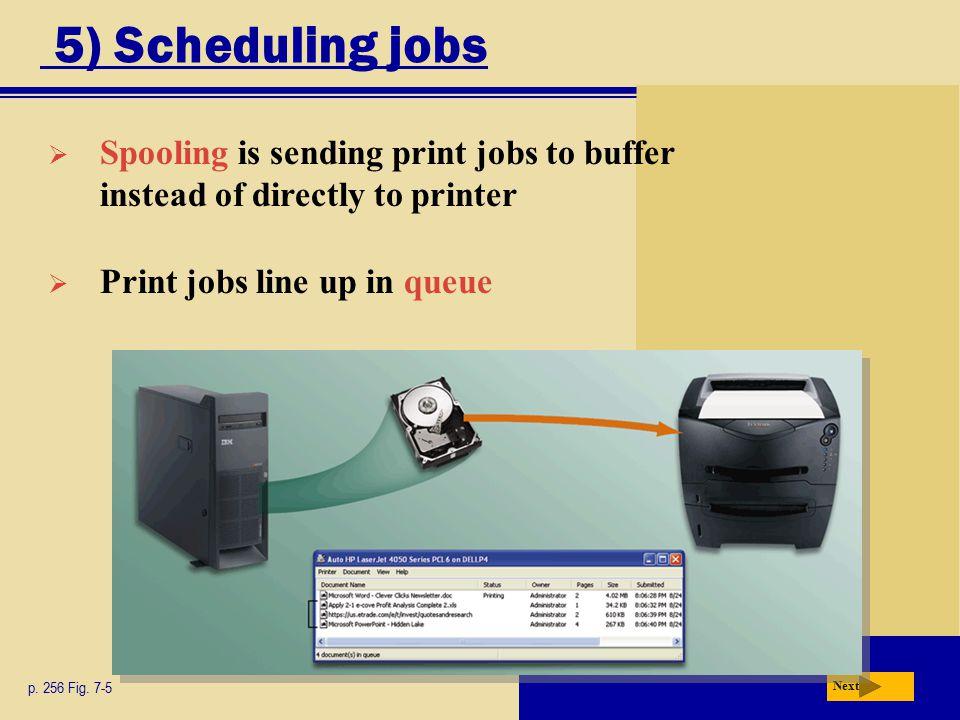 5) Scheduling jobs Next p. 256 Fig.