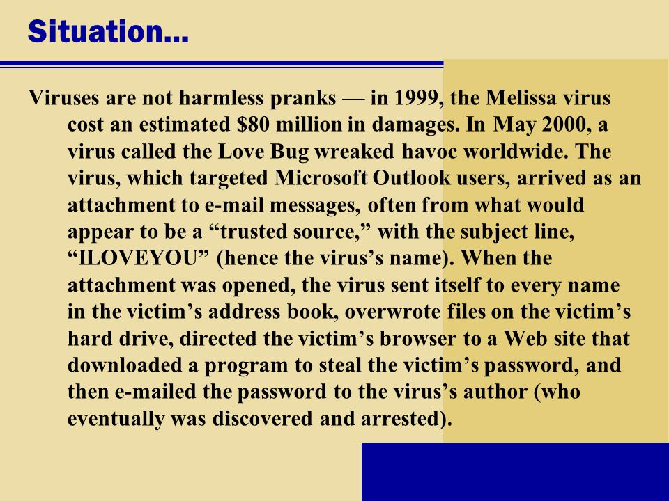 Situation… Viruses are not harmless pranks — in 1999, the Melissa virus cost an estimated $80 million in damages.