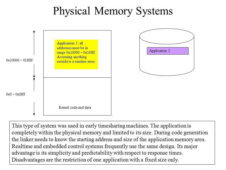 Physical Memory Systems Kernel code and data Application 1: all addresses must be in range 0x10000 – 0x1ffff. Accessing anything outside is a runtime
