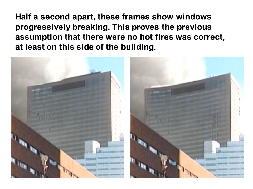 Half a second apart, these frames show windows progressively breaking.