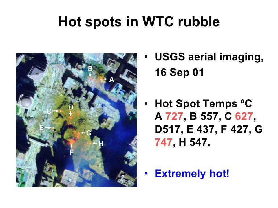 Hot spots in WTC rubble USGS aerial imaging, 16 Sep 01 Hot Spot Temps ºC A 727, B 557, C 627, D517, E 437, F 427, G 747, H 547.