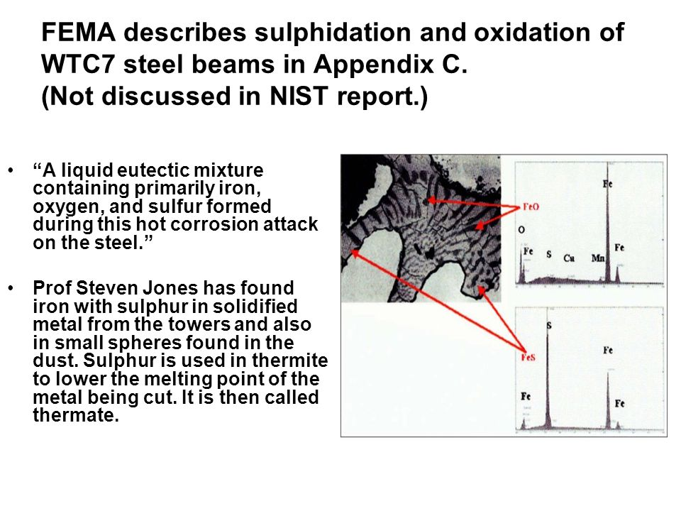 FEMA describes sulphidation and oxidation of WTC7 steel beams in Appendix C.