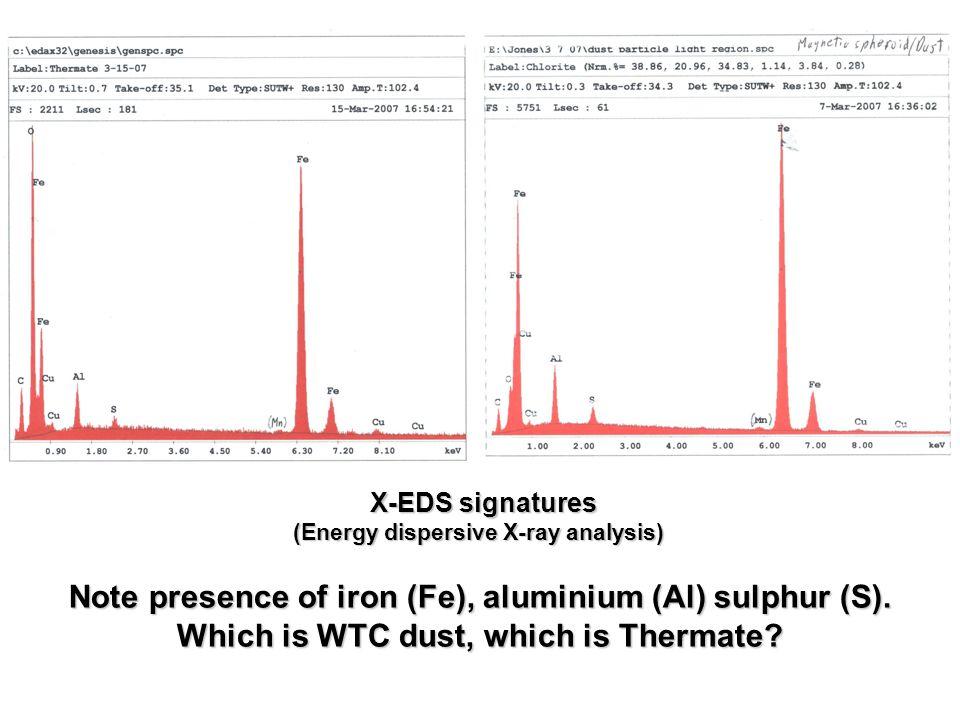Note presence of iron (Fe), aluminium (Al) sulphur (S).