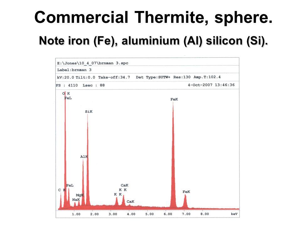 Note iron (Fe), aluminium (Al) silicon (Si). Commercial Thermite, sphere.