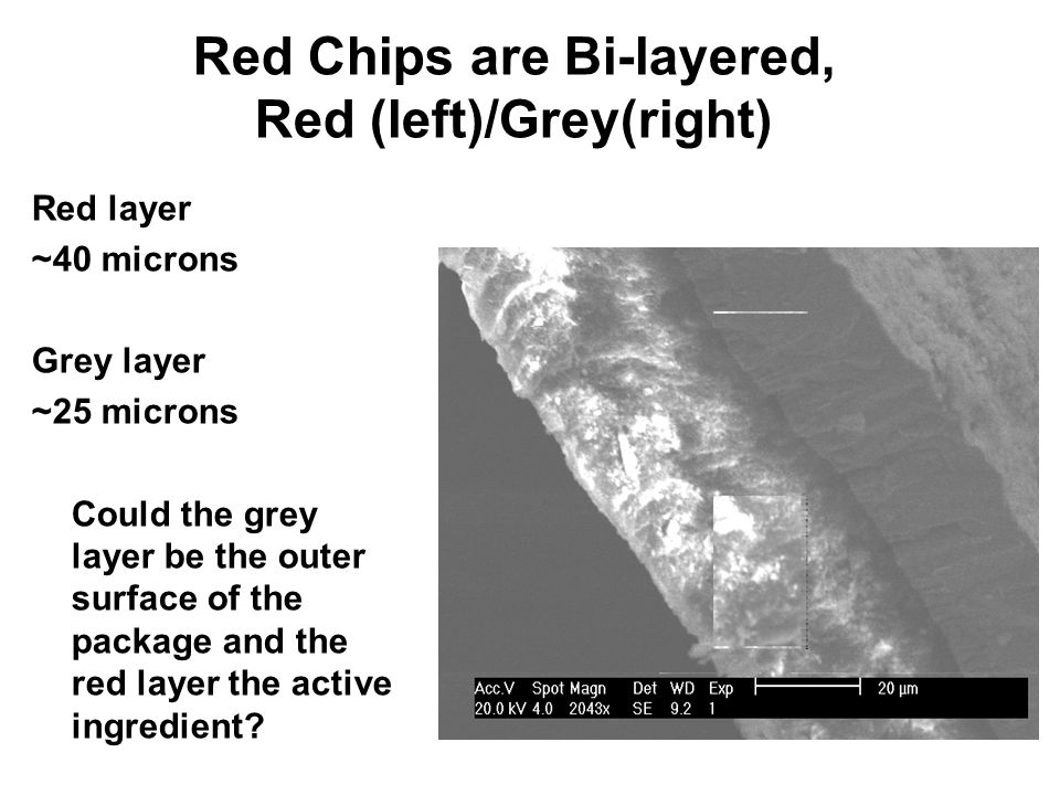 Red Chips are Bi-layered, Red (left)/Grey(right) Red layer ~40 microns Grey layer ~25 microns Could the grey layer be the outer surface of the package and the red layer the active ingredient?