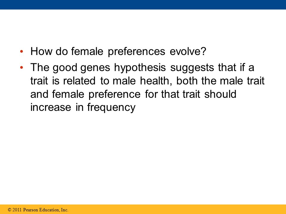 How do female preferences evolve? The good genes hypothesis suggests that if a trait is related to male health, both the male trait and female prefere