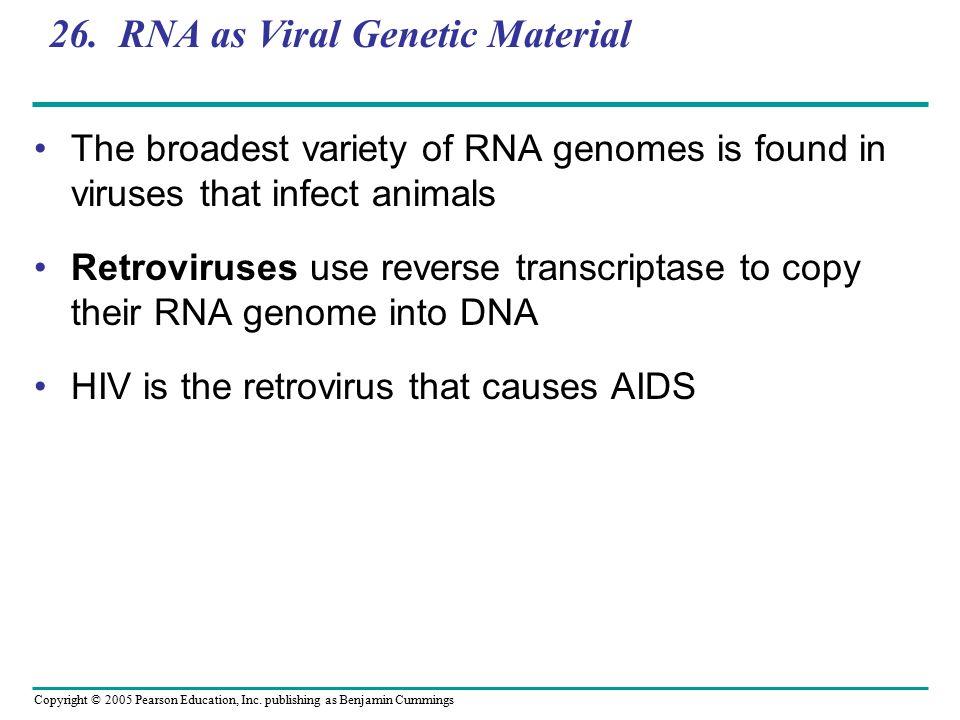 Copyright © 2005 Pearson Education, Inc. publishing as Benjamin Cummings 26. RNA as Viral Genetic Material The broadest variety of RNA genomes is foun