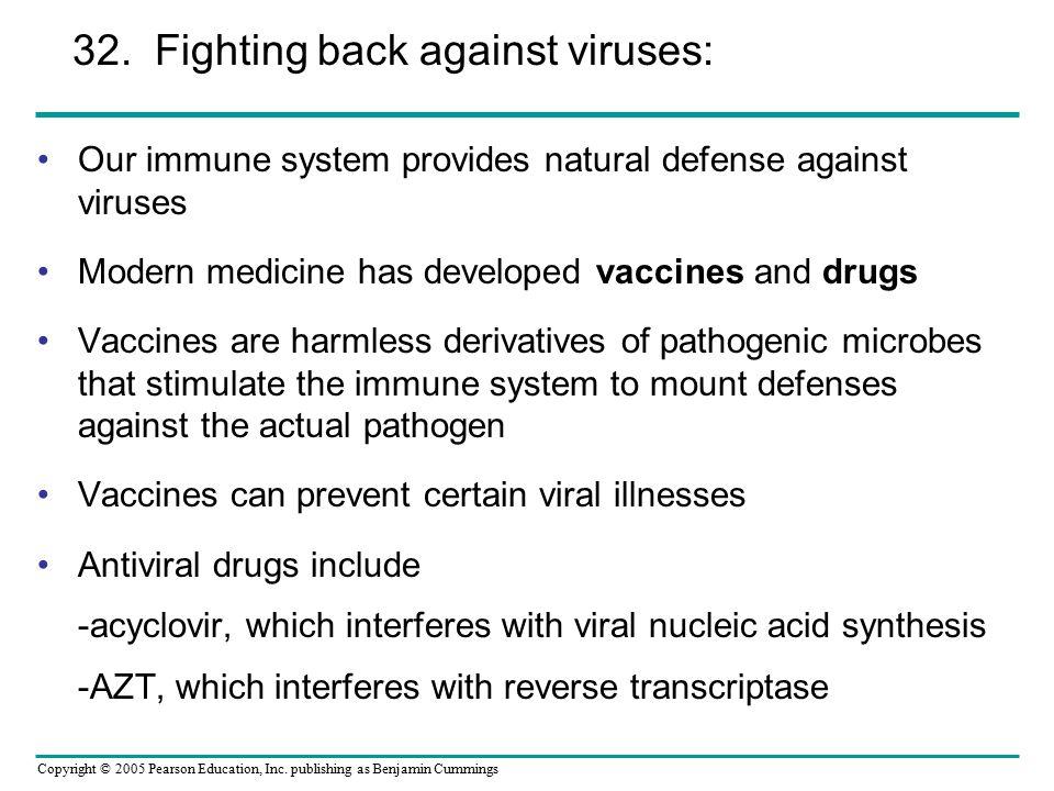 Copyright © 2005 Pearson Education, Inc. publishing as Benjamin Cummings Our immune system provides natural defense against viruses Modern medicine ha