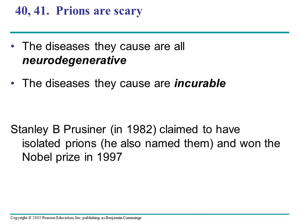 Copyright © 2005 Pearson Education, Inc. publishing as Benjamin Cummings 40, 41. Prions are scary The diseases they cause are all neurodegenerative Th