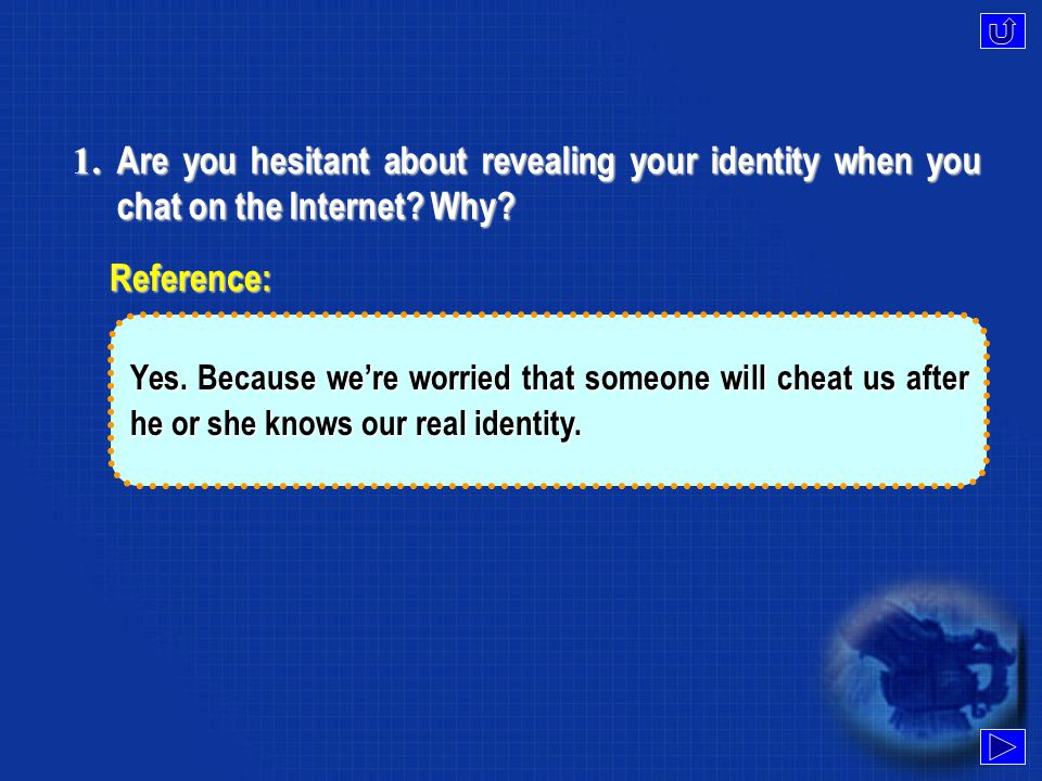 1.Are you hesitant about revealing your identity when you chat on the Internet.