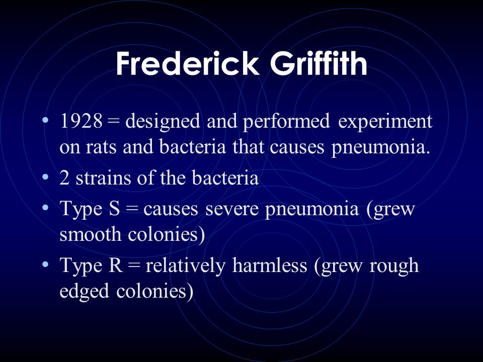 Frederick Griffith 1928 = designed and performed experiment on rats and bacteria that causes pneumonia.