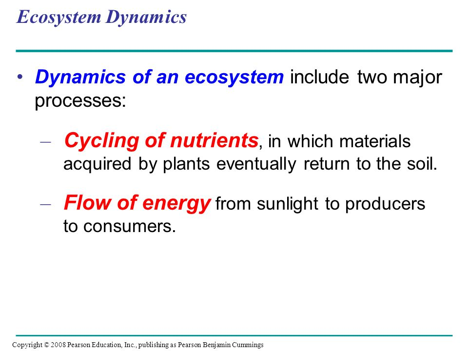 Ecosystem Dynamics Dynamics of an ecosystem include two major processes: – Cycling of nutrients, in which materials acquired by plants eventually retu