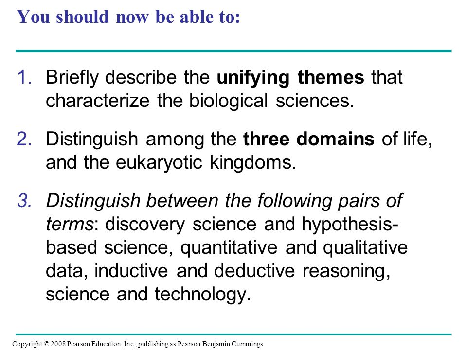 You should now be able to: 1.Briefly describe the unifying themes that characterize the biological sciences. 2.Distinguish among the three domains of
