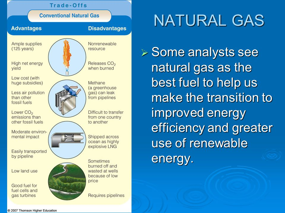 NATURAL GAS  Some analysts see natural gas as the best fuel to help us make the transition to improved energy efficiency and greater use of renewable