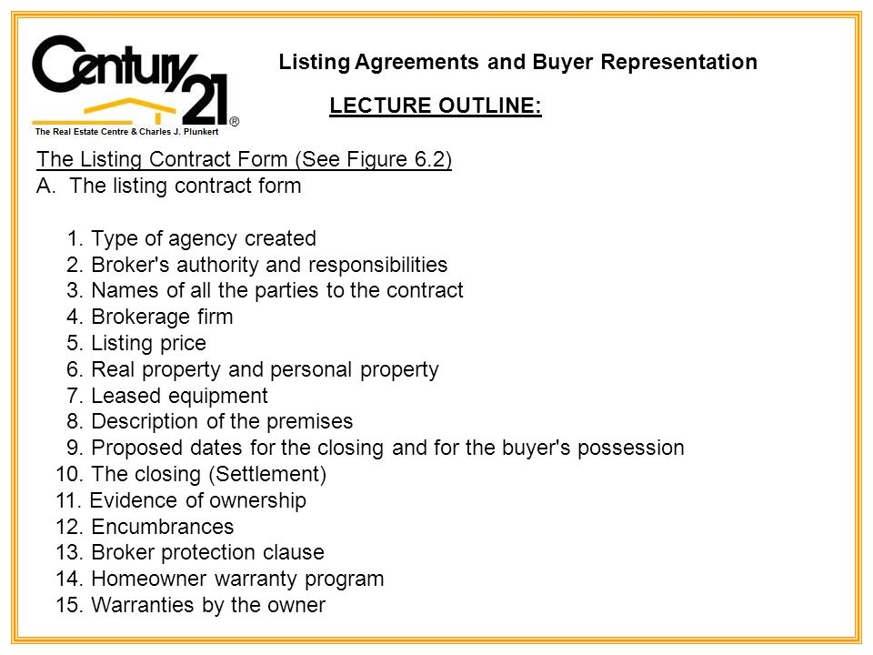 The Listing Contract Form (See Figure 6.2) A.The listing contract form 1.