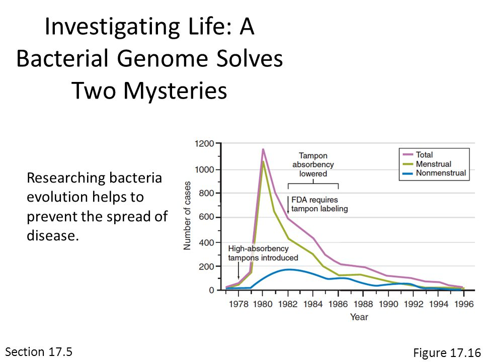 Section 17.5 Figure 17.16 Investigating Life: A Bacterial Genome Solves Two Mysteries Researching bacteria evolution helps to prevent the spread of disease.