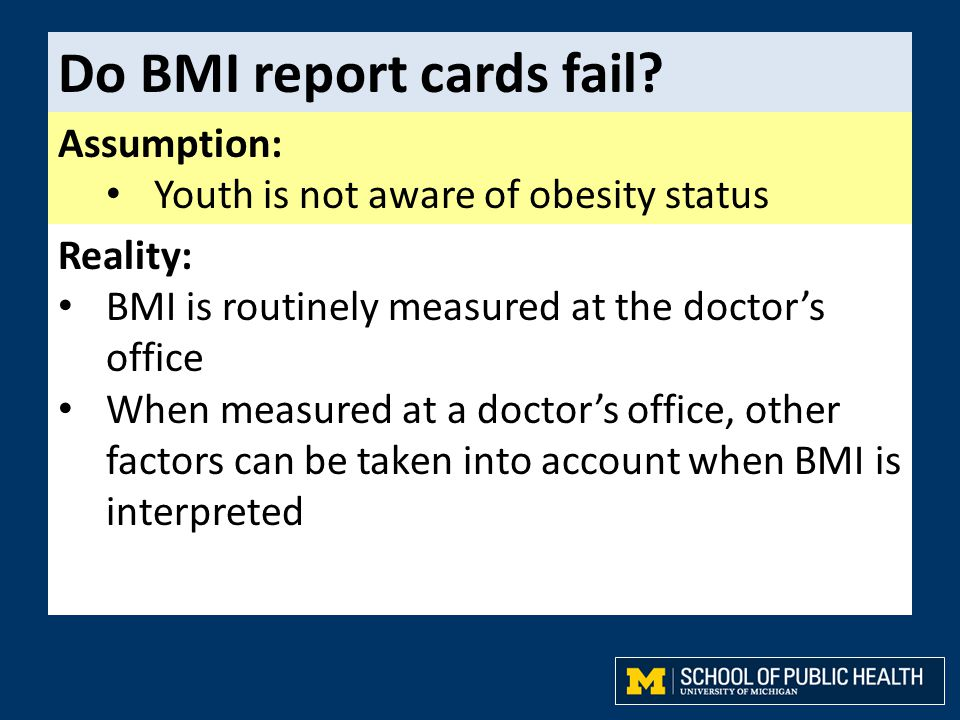 Do BMI report cards fail? Assumption: Youth is not aware of obesity status Reality: BMI is routinely measured at the doctor's office When measured at
