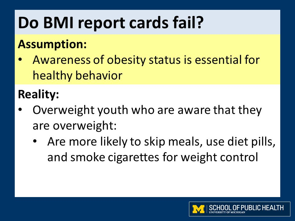 Do BMI report cards fail? Assumption: Awareness of obesity status is essential for healthy behavior Reality: Overweight youth who are aware that they