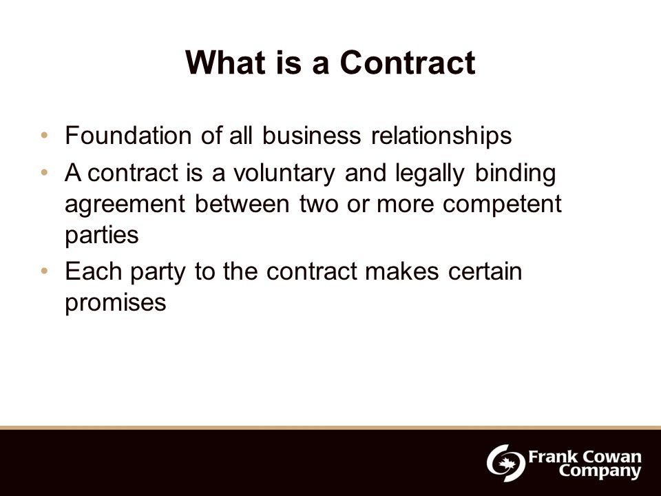 Contracts When you enter into a contract with another party, each side makes promises, such as: To undertake to do certain work To pay for the work done To indemnify and hold harmless the party who is having the work done
