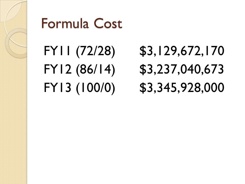 Formula Cost FY11 (72/28)$3,129,672,170 FY12 (86/14)$3,237,040,673 FY13 (100/0)$3,345,928,000