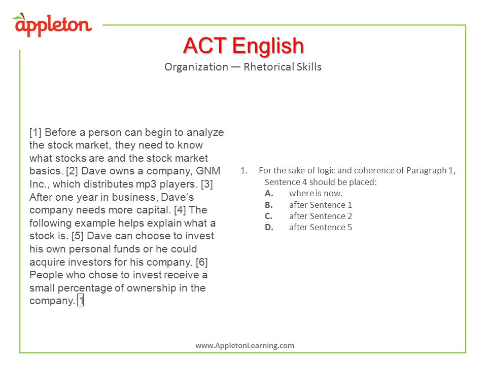 ACT English [1] Before a person can begin to analyze the stock market, they need to know what stocks are and the stock market basics.