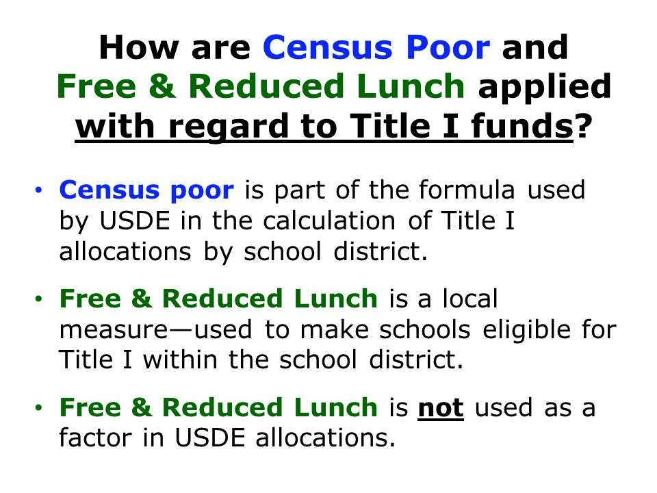 How are Census Poor and Free & Reduced Lunch applied with regard to Title I funds.