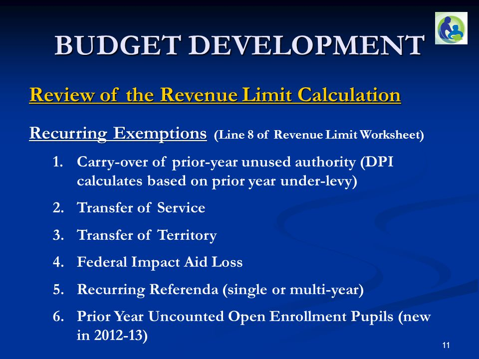 BUDGET DEVELOPMENT Review of the Revenue Limit Calculation Recurring Exemptions Recurring Exemptions (Line 8 of Revenue Limit Worksheet) 1.Carry-over of prior-year unused authority (DPI calculates based on prior year under-levy) 2.Transfer of Service 3.Transfer of Territory 4.Federal Impact Aid Loss 5.Recurring Referenda (single or multi-year) 6.Prior Year Uncounted Open Enrollment Pupils (new in 2012-13) 11