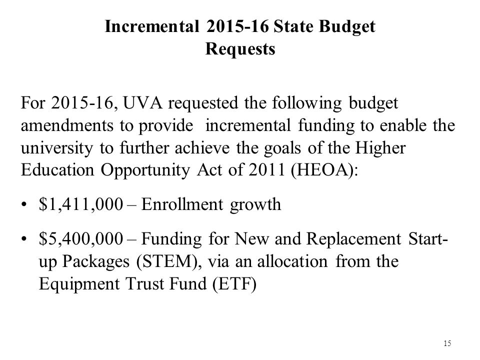 15 Incremental 2015-16 State Budget Requests For 2015-16, UVA requested the following budget amendments to provide incremental funding to enable the university to further achieve the goals of the Higher Education Opportunity Act of 2011 (HEOA): $1,411,000 – Enrollment growth $5,400,000 – Funding for New and Replacement Start- up Packages (STEM), via an allocation from the Equipment Trust Fund (ETF)