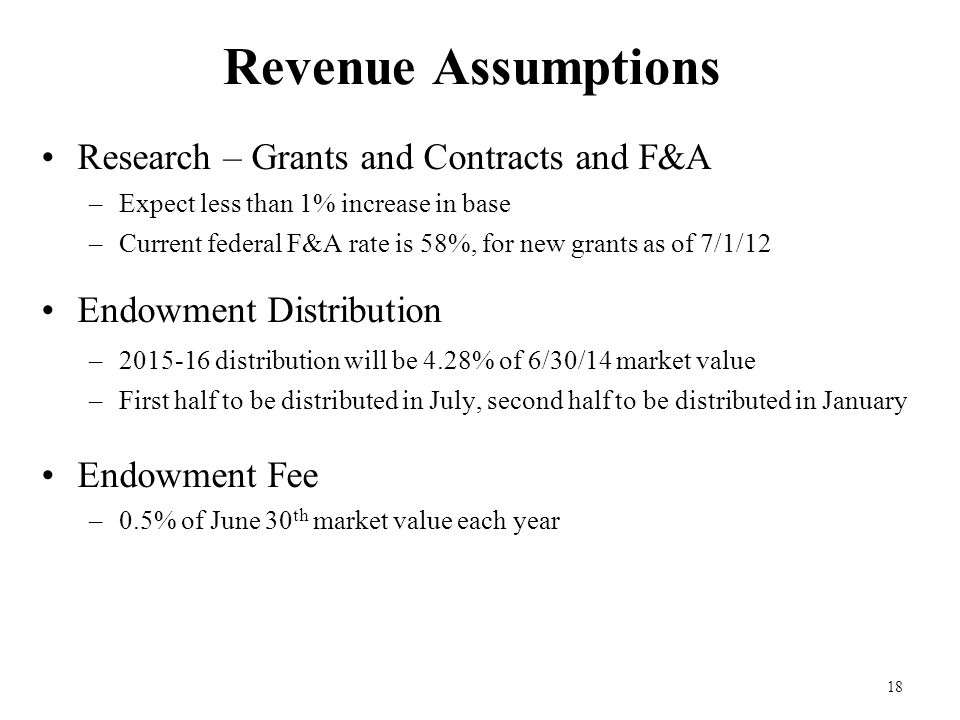 18 Revenue Assumptions Research – Grants and Contracts and F&A –Expect less than 1% increase in base –Current federal F&A rate is 58%, for new grants as of 7/1/12 Endowment Distribution –2015-16 distribution will be 4.28% of 6/30/14 market value –First half to be distributed in July, second half to be distributed in January Endowment Fee –0.5% of June 30 th market value each year