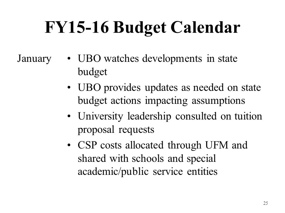 FY15-16 Budget Calendar January 25 UBO watches developments in state budget UBO provides updates as needed on state budget actions impacting assumptions University leadership consulted on tuition proposal requests CSP costs allocated through UFM and shared with schools and special academic/public service entities