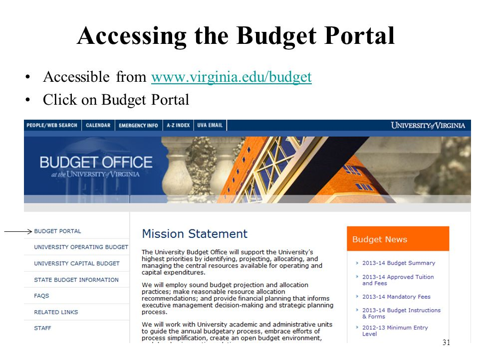 31 Accessing the Budget Portal Accessible from www.virginia.edu/budgetwww.virginia.edu/budget Click on Budget Portal