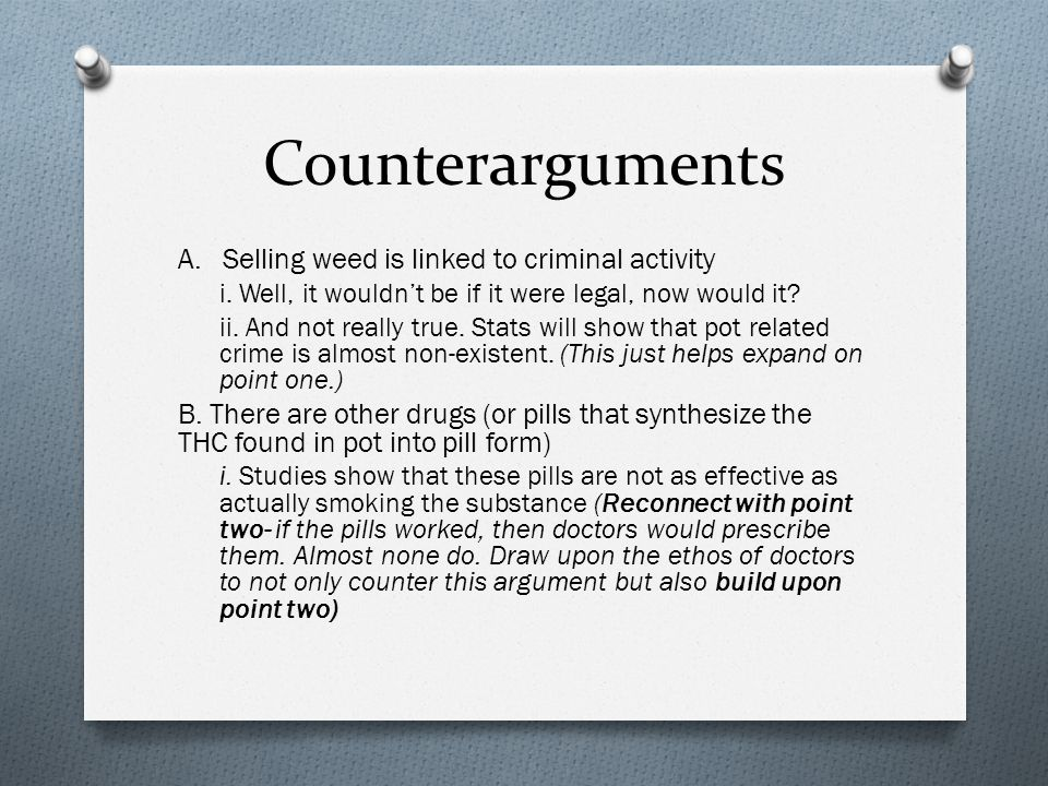 Counterarguments A. Selling weed is linked to criminal activity i.