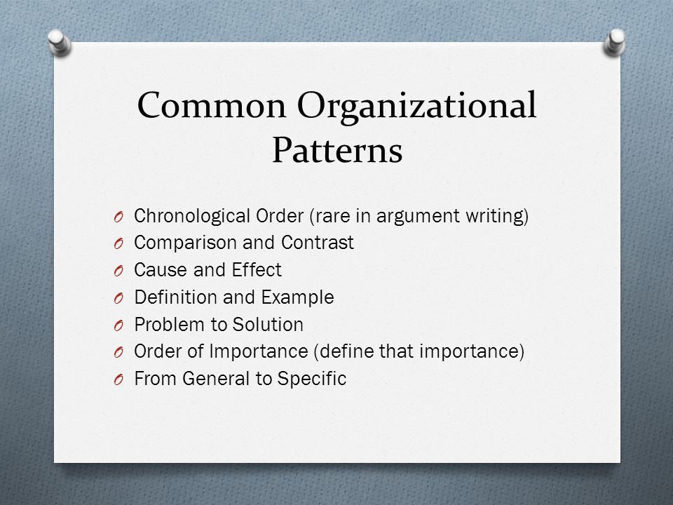 Common Organizational Patterns O Chronological Order (rare in argument writing) O Comparison and Contrast O Cause and Effect O Definition and Example O Problem to Solution O Order of Importance (define that importance) O From General to Specific