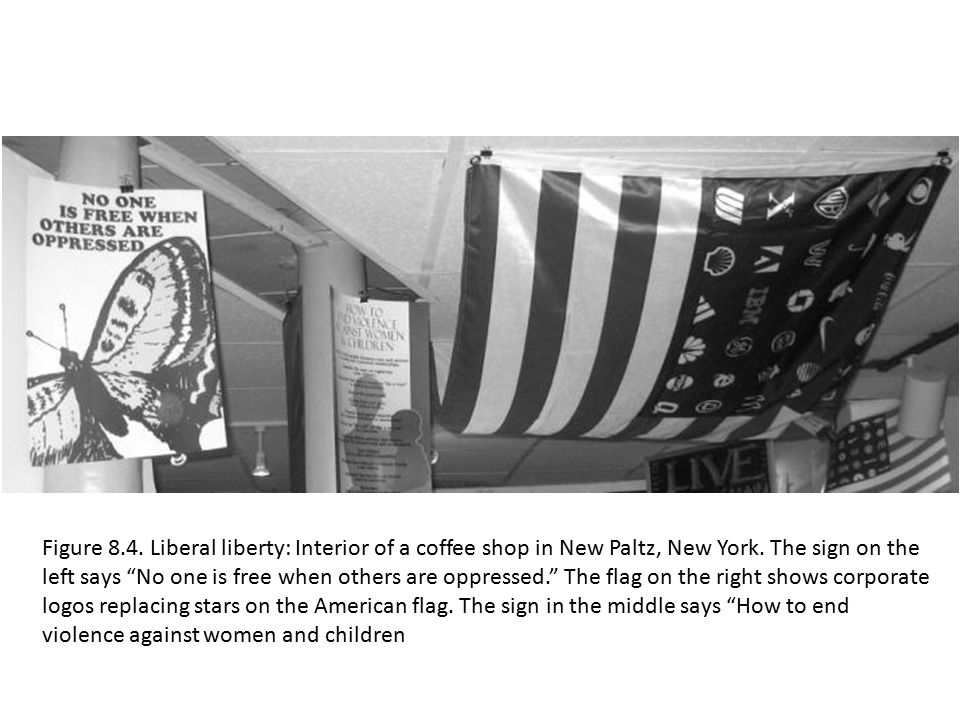 "Figure 8.4. Liberal liberty: Interior of a coffee shop in New Paltz, New York. The sign on the left says ""No one is free when others are oppressed."" T"