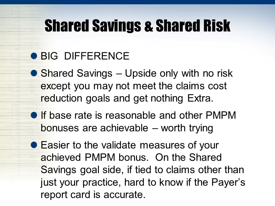 Shared Savings & Shared Risk BIG DIFFERENCE Shared Savings – Upside only with no risk except you may not meet the claims cost reduction goals and get