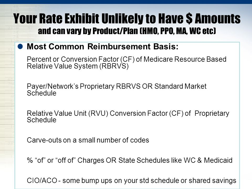 Your Rate Exhibit Unlikely to Have $ Amounts and can vary by Product/Plan (HMO, PPO, MA, WC etc) Most Common Reimbursement Basis: Percent or Conversio