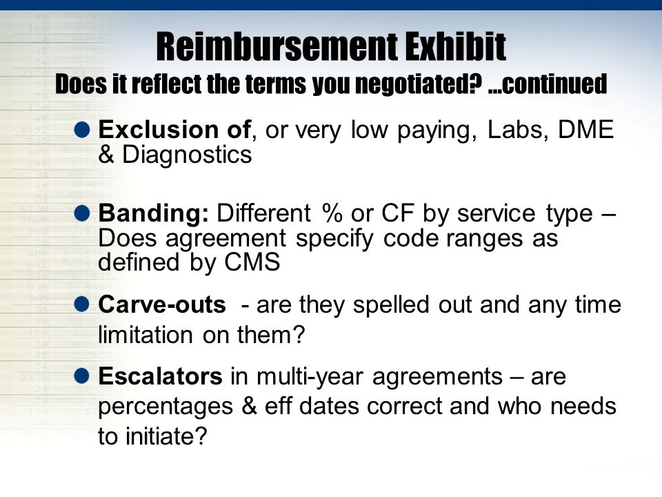 Reimbursement Exhibit Does it reflect the terms you negotiated? …continued Exclusion of, or very low paying, Labs, DME & Diagnostics Banding: Differen